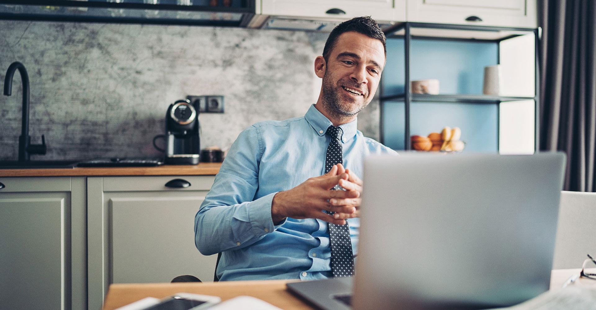 man in online meeting